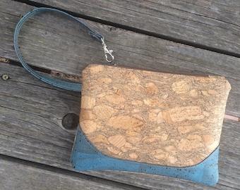 Cork Clutch / Clutch Purse / Cork Zippered Pouch / Vegan Clutch / Cork Handbag / Vegan Wristlet