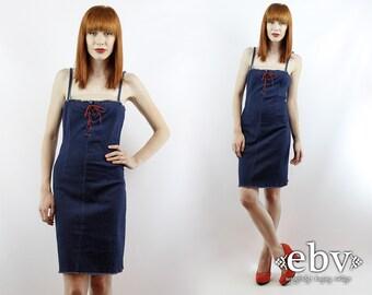 Vintage 90s Grunge Dress 90s Denim Dress Denim Mini Dress Denim Bodycon Dress Denim Bandage Dress XS S