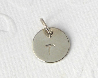 Hand-stamped pendant wish letter 925 silver
