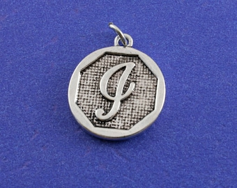 1 pcs-Initial I, I Alphabet Pendant, Antiqued Silver Letter I Coin-As-K85350H-8S