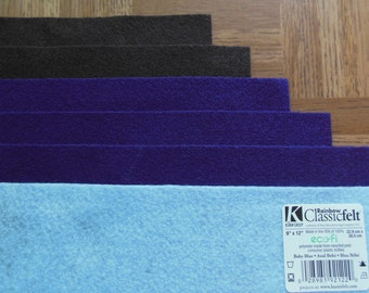 KUNIN Rainbow Classic Felt Six  9x12  Sheets Assorted 2 Cocoa Brown, 3 Purple, 1 Baby Blue