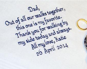 Father of the Bride Handkerchief, Favorite Walk Wedding Day Keepsake - Thread Born Memories