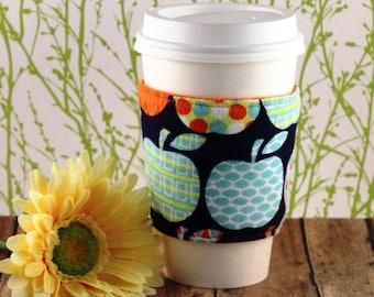 Fabric Coffee Cozy / Fleece Coffee Cozy / Patterned Apples Coffee Cozy / Apple Coffee Cozy / Teacher Coffee Cozy / Coffee Cozy / Tea Cozy