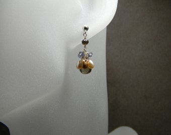 Smoky Quartz, Iolite and Freshwater Pearl Sterling Silver Cluster Earrings