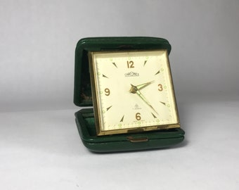 Chronex Travel Alarm Clock in Green Leather Case