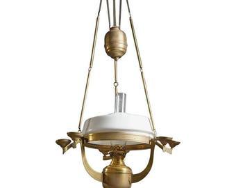 Art Nouveau Brass Kerosene Petronella Oil Hanging Lamp