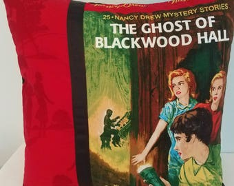 Nancy Drew pillow cover, The Ghost of Blackwood Hall, Nancy Drew books, decorative pillow cover, throw pillow, gifts for her, vintage books