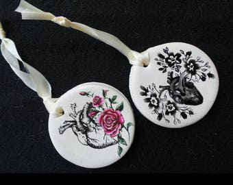 Anatomical hearts Christmas Ornaments -  Christmas Ornaments -  Painted Christmas Ornaments - Clay Ornaments