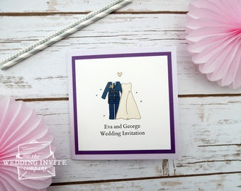 RAF (Royal Air Force) Bride and Groom Pocketfold Wedding Invitations