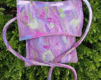 Handmade Purple Wet Felted Cross Body OOAK Felt HandbagWith Silver Effect Charm Embellishment