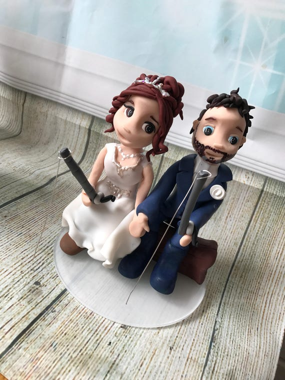Fully personalised fishing couple clay Wedding Cake Topper highly detailed and fully sculpted Keepsake - Bespoke Premium Service