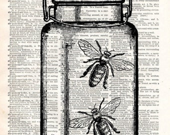 Old Book Art Print - Fireflies in Mason Jar - Vintage Garden Decor - Recycled Book Print - Summer Vintage Wall Art - Upcycled Book Print