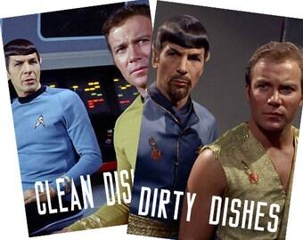 "Star Trek Laminated Reversible Magnetic Dishwasher Sign   Geek Kitchen   Clean Dirty Dishwasher   ""Clean""Spock/Kirk  and ""Dirty""Spock/Kirk"