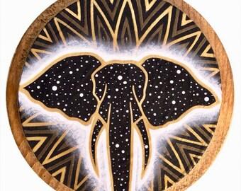 Elephant Spirit ~ Original Wood Plaque Painting, spirit animal, animal totem