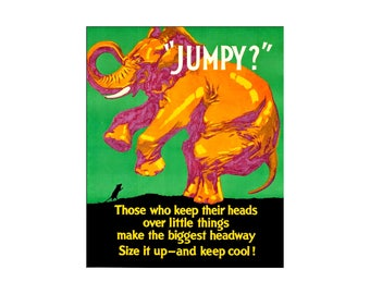 Jumpy? Size It Up Keep Cool 1929 WPA Motivational Vintage Poster Retro Art Print Free US Post Low EU & Canadian Post