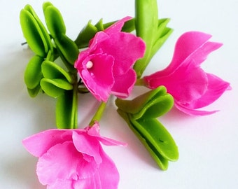 Handmade Polymer Clay Flowers Supplies Hot Pink Cattleya, Orchid with leaves, 3 sets