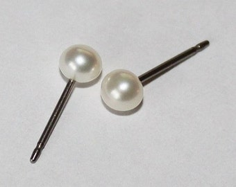 Small 3mm, 4mm, and 6mm White fresh water pearl studs, Bridesmaids earrings, Titanium pearl earrings, Hypoallergenic, Flower girl earrings