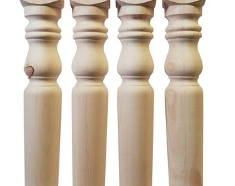 Set of 4 knotty pine unfinished wooden table legs 29 x 3 1/2