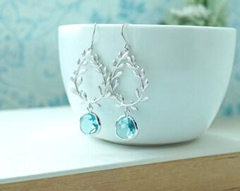 Laurel Wreath Earrings, Light Blue Aquamarine Blue, Silver Plated Chandelier Earrings. Aqua Wedding. Bridesmaids Gift. Gold and Aqua Wedding