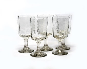 5 Libbey Facets Clear Water Goblet Rock Sharpe
