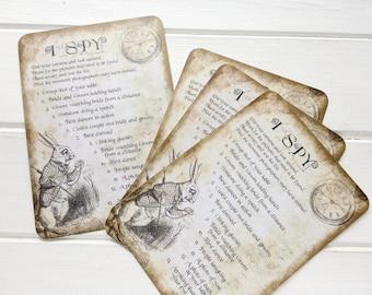 Wedding photo I spy cards. Wedding photo card game. Table camera ideas. Alice in Wonderland - White Rabbit Watch design