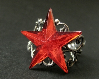 Star Ring. Red Ring. Red Star Ring. Silver Filigree Ring. Adjustable Ring. Handmade Ring. Handmade Jewelry.