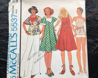 Vintage 1970s Misses' Dress or Top & Pants or Shorts Pattern // McCall's 5537 > Size 12 > Unused > flared A-line dress, jumper, flared
