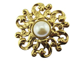 Large Pearl Brooch, Gold and Pearl Brooch, Gold Circle Brooch, Large Gold Brooch, Large Gold Pin
