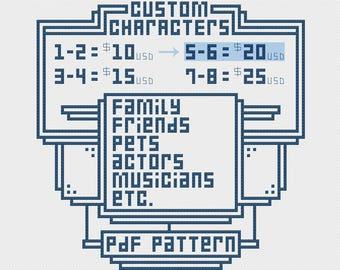 5-6 Custom Characters Cross Stitch Pattern PDF Commission