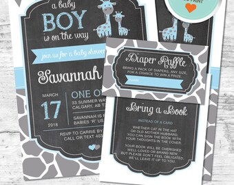 Giraffe Baby Shower Invitation, Giraffe Invitation, Blue, Gray, Flags, Spots, Chalkboard | DIY