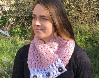 Fluffy pink cowl