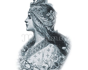 GODDESS CAMEO  Clipart Illustration Wiccan Digital Image Download Printable Graphic Clip Art Transfers Prints HQ 300dpi jpg png