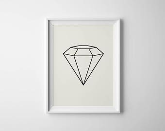 Diamond Art Print Diamond Wall Art Minimalist Art Geometric Diamond Home Decor  sc 1 st  Etsy & Diamond wall art | Etsy