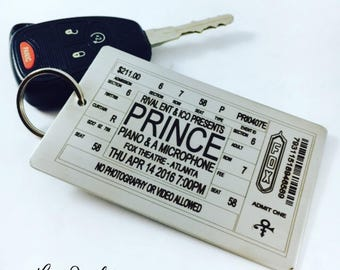 Prince Concert Ticket Keychain, Prince Concert Ticket Luggage Tag, Prince Concert Ticket, Prince Memorabilia, Prince, Luggage Tag, Large