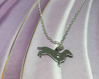 Stainless Steel Dachshund Charm Necklace