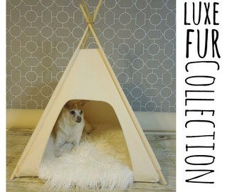 "Luxe Fur Collection - Dog/Cat Teepee Pet Tent -Small 24"" - Grey, Black or Natural Canvas  by Vintage Kandy"