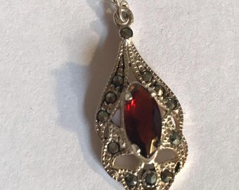 Vintage Garnet Sterling Silver Earrings with Marcacite accents