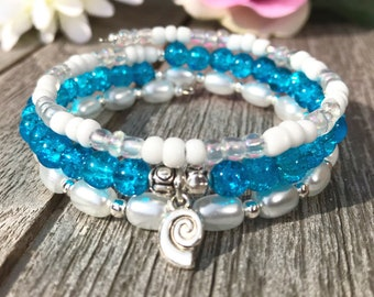 Wrap bracelet of blue glass beads and seed beads