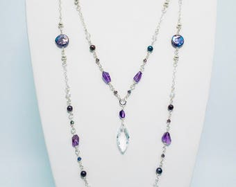 Amethyst and Freshwater Pearl Sterling Silver Necklace