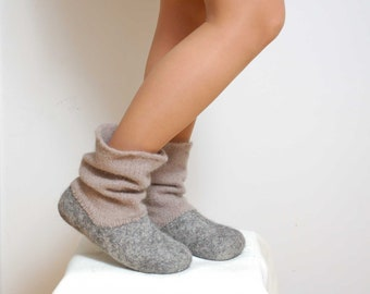 READY to SHIP in size EU38,39/us women's 8, 8.5 Felted wool slipper boots Grey - organic wool felt boots - boiled wool shoes - valenki