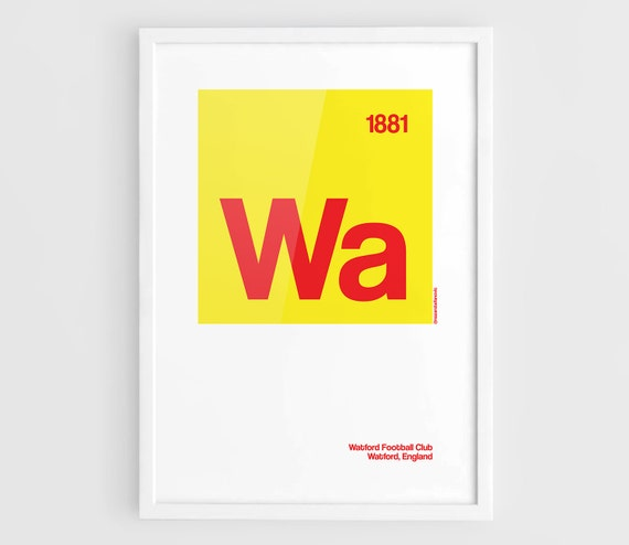 Watford FC Football Elements Poster A3 Wall Art Typography