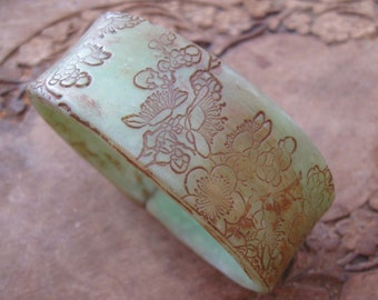 SALE Antique Jade Style Bracelet, Asian Floral Design, Handmade Bracelets by theshagbag on Etsy