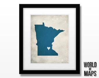 Minnesota State Map Print - Home Town Love - Personalized Art Print - Original Geographical Artwork Available in Multiple Sizes