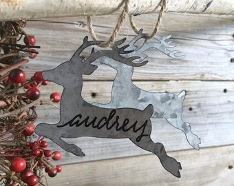 Personalized, Christmas Ornament, Gift Tag, placecard, Reindeer, Galvanized Metal, Custom Lettering, Calligraphy, Hostess Gift