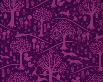 Michael Miller Fabric by the yard,Purple woodland fabric,Michael Miller Norwegian Woods fabric,Michael Miller Foxtrot purple fabric,purple