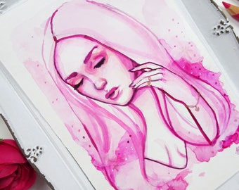 Pink Watercolor Girl #2. Original Watercolor & Mixed Media Painting of a Girl with a Surreal Cloud Background