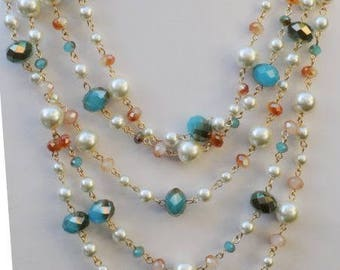 SALE - Bib Necklace, Layered Necklace, Multi strand Pearls and crystals Necklace, Gift for her, Best friend gift