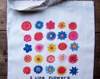 Market Tote I Like Flowers