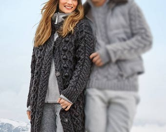 Knitted cardigan. The classic cardigan in a rustic style captivates with a combination of relief designs.