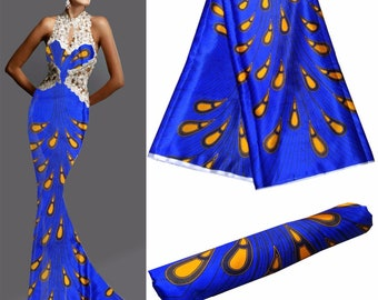 Blue Peacock Ankara Satin Per Yard, African Satin print fabric / Satin Scarves, Clothing/ Lingerie Satin Fabric, prom dress fabric